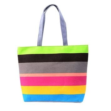 Handbags Casual Tote Fresh japan Canvas bags Wristlets Striped Zipper Versatile Designer Bag sacoche homme