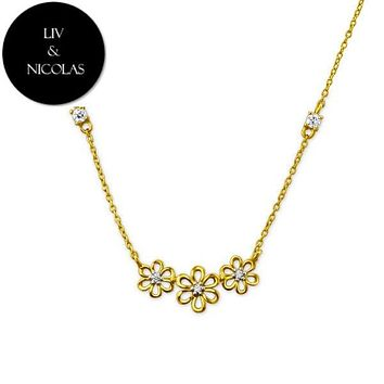 Solid 925 Sterling Silver + 14K Gold Plated White Cubic Zirconia Three Flower Necklaces