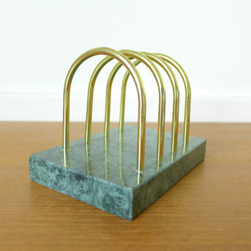 Green stone letter holder, desk accessory