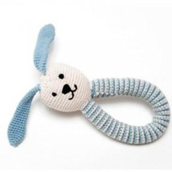 Organic Bunny Fair Trade Knitted Baby Rattle - Blue