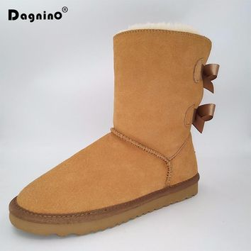 DAGNINO Lady Brand Classic Australia Short Botas High Quality Women Winter Warm Genuine Leather Bow Snow Boots Plus Size 44