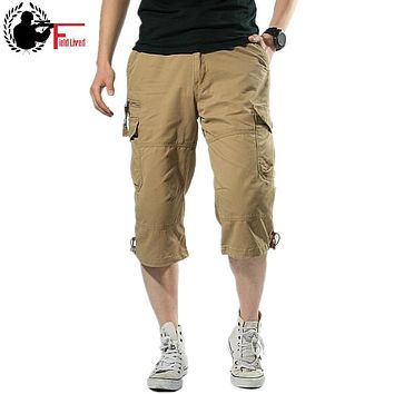 Summer Short For Men Baggy Multi Pocket Military Zipper Mens Cargo Short Hot breeches Male Long Army Green Khaki Grey Plus Size