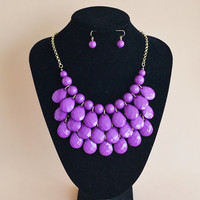 New fashion Jewelry Purple bubble bib statement beaded drop necklace and earring set, bridesmaid wedding party gift necklace