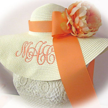 Monogrammed Off White Cream Floppy Hat NEW ITEM & Gorgeous,  Bride, Wedding, Honeymoon Bridesmaids, Sun, Beach, Derby, Cup Race,