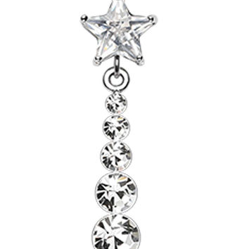 Star Journey Glass-Gem Dangle Belly Button Ring