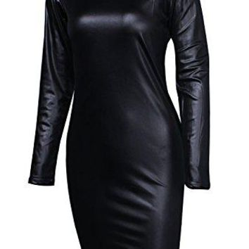 Sarin Mathews Women Faux Leather Bodycon Pencil Party Midi Clubwear Dress