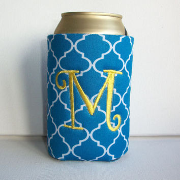 Monogrammed Custom Can blue Quatrefoil Koozie -  Personalized Embroidered Monogram Coozie - gift for her drink holder