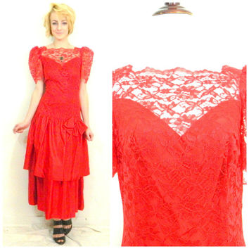 Retro red lace dress / 80s does 20s / drop waist gown / evening dress / formal / homecoming / retro dress / big bow