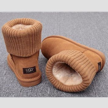 2018 Original UGG Fashion Plush leather boots boots in tube Boots Brown