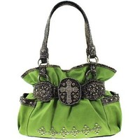 Western Style Rhinestone Cross Faux Leather Handbag Purse (green)