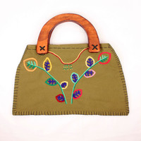 vintage embroidered handbag // floral motif // wood handles