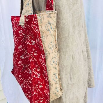 Vintage Fabric Home Decor Market Carry All Tote in Beige, Rust, Blue