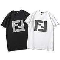 FENDI 2019 early spring new tide brand double F letter casual wild round neck T-shirt
