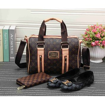 LV Trending Women Shopping Leather Tote Handbag Shoulder Bag Purse Wallet Single shoe Set  Three-Piece G-KSPJ-BBDL