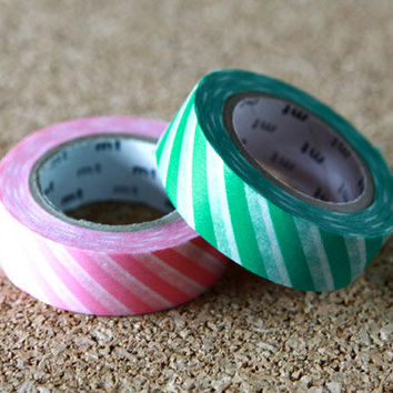 Stripe, Japanese Washi Paper Masking Tape, Pink & Green, 2 Rolls Set, mt Deco, Scrapbooking, Cute Collage, Gift Wrapping, Decor Art Sticker