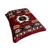 Burgundy Native American Print Blanket