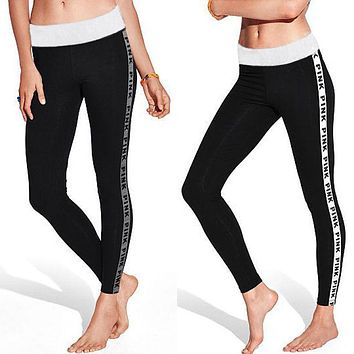 Women Cotton Leggings Hipster Fitness Leggings Grey Pink Letter Printed Leggins Brand Fashion Ladies Work Out Legging Pants