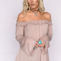 Smocked Off The Shoulder Bell Sleeve Top In Taupe