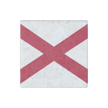Patriotic stone magnet with Flag of Alabama