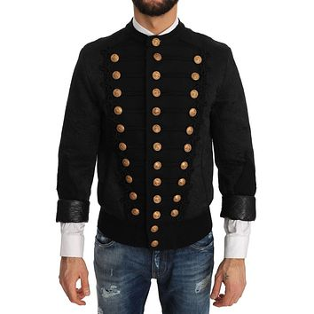 Dolce & Gabbana Bomber Black Brocade Jacket Coat