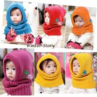 Hot Winter Beanie Baby Kids Boy Girl Warm Hats Hooded Scarf Earflap Knitted Cap = 1958039172