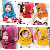 Hot Winter Beanie Baby Kids Boy Girl Warm Hats Hooded Scarf Earflap Knitted Cap