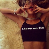 Womens Black Halter Neck Letter Print Crop Top