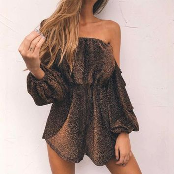 Copper Radiance Off-the-Shoulder Romper