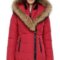 Mackage Women's adali-f4 fitted winter down coat with fur hood jacket/red