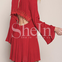 Red Long Sleeve Backless With Lace Dress -SheIn(Sheinside)