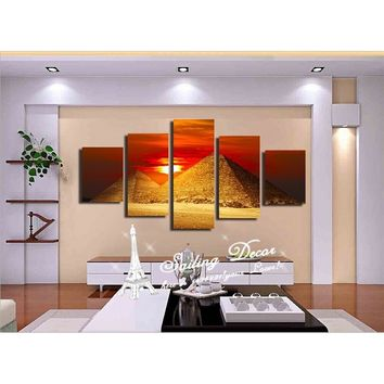 Canvas Painting Room Set 5 Panels/Set Standard Size Wall Art Pictures The Egyptian Pyramids With Beauty Sunrise