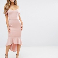 John Zack Petite Off Shoulder Ruffle Midi Dress at asos.com