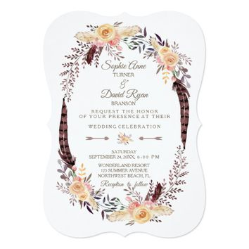 Charm Watercolor Boho Floral Wreath Wedding Invite