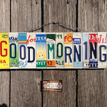 Sun. Goodmorning. Smile. Recycle. Licenseplate. Custom. Garage. Home. Decor