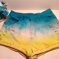 High Waisted Tie Dye Shorts  Turquoise Yellow Ombre Beach Boho Destroyed Bongo Size 28 waist Size 6