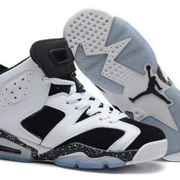 Hot Nike Air Jordan 6 Retro Women Shoes White Black Speckle f362fc556