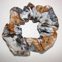 Cats all over Fabric Hair Scrunchie -a variety of cats and colors all over this fabric