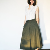 Maxi green wool skirt Big pockets boho skirt Full long skirt Olive green color Designer monogram 60's (XS/S)