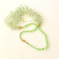 Light green beaded wedding airy crocheted necklace. Wedding. Multistrand Necklace. Beadwork. Beaded Summer Jewelry, Ready to ship.