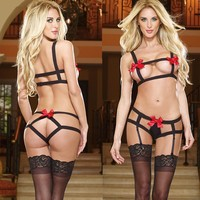 Hot Deal On Sale Cute Sexy Plus Size See Through Set Socks Butterfly Sleepwear Exotic Lingerie [6594736515]