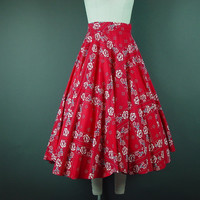 50s 60s Bandana Skirt Vintage1950s Red White Blue Rockabilly Full Circle Homemade Skirt S W 26""
