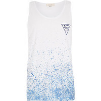 River Island MensBlue West Coats paint splatter print vest