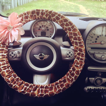 Car Steering wheel cover-Cotton Giraffe Print with Removable Chiffon Flower, Unique Auto Accessories, Car Decor, Automobile Wheel cover