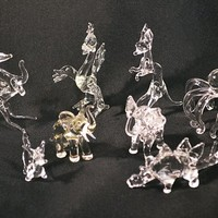 FREE SHIPPING Glass Figurines, Vintage Clear Glass Miniature Animals, Elephants, Roadrunner, Kangaroo, Spider, Pegasus, Stegosaurus, Dragon