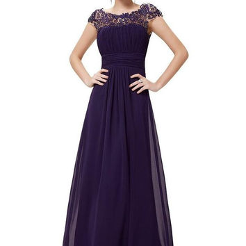 A-line Prom dress,Chiffon Prom dress With Cap Sleeves