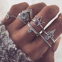 8pc Retro Lucky Stackable Women Ring Set