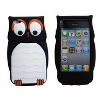 Leegoal(TM) Owl Designs Cute Cartoon Silicone Case Back Cover Skin for Apple iPhone 4 4S Black