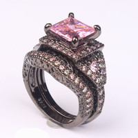 cubic zircon rings for women engagement black gold plated purple pink vintage gift fashion jewelry wedding ring set