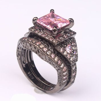 cubic zircon rings for women engagement black gold-color purple pink vintage gift fashion jewelry wedding ring set