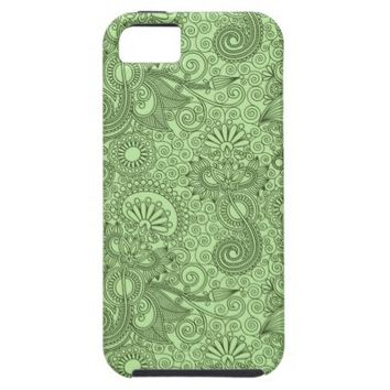 Modern Green Floral Pattern Apple iPhone 5 Cover